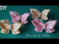 Резинки с бабочками из лент Канзаши DIY Hair elastic bands with Butterflies from Ribbons Kanzashi - YouTube