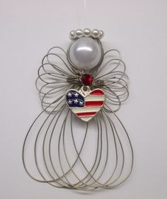 USA Patriotic Heart Angel Ornament Handmade