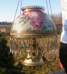 bradley and hubbard b&h font   ... 1800s BRADLEY HUBBARD B & H PRISM BRASS HANGING OIL LAMP LIGHT