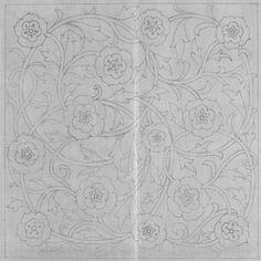 Rose design (pricked) for footstool, William Morris Victoria & Albert Museum archives