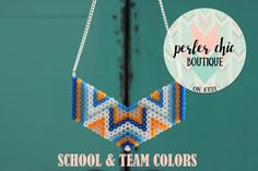 Perler Bead Statement Necklace / Hama Bead Statement Necklace / Jewelry For Toddler, Tween, Teen, and Adult / Aztec Necklace by PerlerChicBoutique on Etsy https://www.etsy.com/listing/477212168/perler-bead-statement-necklace-hama-bead