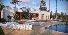 Nowoczesny dom parterowy z basenem - Widok od ogrodu