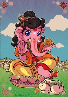 Ganesha chibi version by Sine. Posted in old ID Ganesha chibi Lord Ganesha Paintings, Lord Shiva Painting, Durga Painting, Dancing Ganesha, Rama Image, Baby Ganesha, Ganesha Pictures, Krishna Art, Ganesha Art