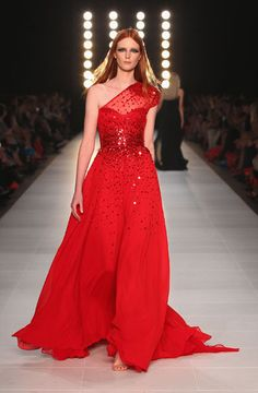 HIGHLIGHTS: L'ORÉAL MELBOURNE FASHION FESTIVAL 2012  Alice Burdeu in a glamorous beaded red Gown by Alex Perry