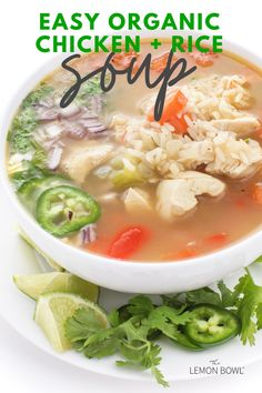 This satisfying, comforting chicken soup recipe is made with tender breast meat, hearty vegetables and aromatic chicken stock. Chicken Rice Soup, Chicken And Cabbage, Chicken Soup Recipes, Healthy Soup Recipes, Chili Recipes, Slow Cooker Soup, Slow Cooker Recipes, Lebanese Lentil Soup, Lemon Bowl