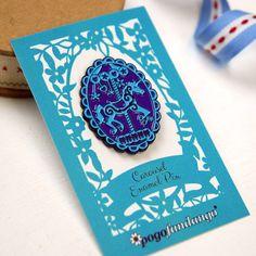Unicorn Carousel Enamel Pin Merry Go Round Purple and Blue