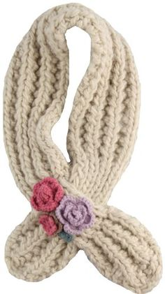 San Diego Hat Co. Girls 2-6x Cotton Knit Scarf With Flowers