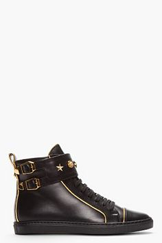 Versace Black Gold-trimmed Leather Buckled High-top Sneakers for women