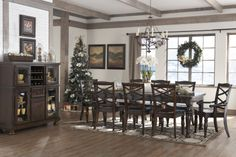 A dining table big enough for the whole family during the holiday season.