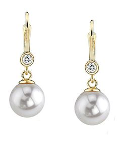Diamond Earrings Design | 14K Gold White Akoya Cultured Pearl  Diamond Michelle Earrings >>> To view further for this item, visit the image link. Note:It is Affiliate Link to Amazon. #denver
