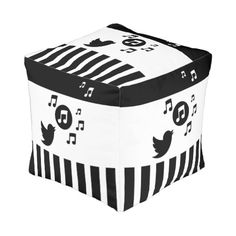 Modern songbird with musical notes and black and white stripes design fully customizable with a name of your choice to create a unique music themed gift for the musician or music lover