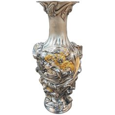 Art Nouveau Sterling Silver Vase  | From a unique collection of antique and modern centerpieces at https://www.1stdibs.com/furniture/dining-entertaining/centerpieces/