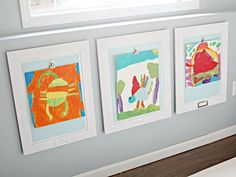 IHeart Organizing: Basement Progress: Playroom Art Display These are painted Cabinet doors! Displaying Kids Artwork, Artwork Display, Framed Artwork, Hanging Kids Artwork, Photo Hanging, Display Wall, Grand Cadre Photo, Upcycled Cabinet, Art Mur