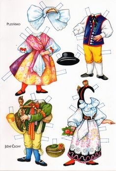 Czech, Moravian and Slovak Traditional Costumes: of History Of Paper, Paper Dolls Clothing, Doll Clothes, Paper Dolls Printable, Thinking Day, Vintage Paper Dolls, Retro Toys, Planner, Art Pages