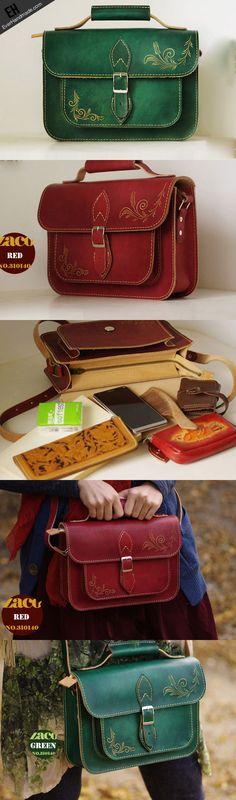 Handcraft vintage floral leather Carved Satchel shoulder bag /handbag   EverHandmade