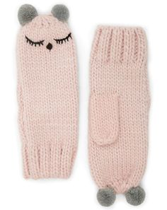 A ribbed knit mittens featuring a stitched on sleepy face design. Loom Knitting, Knitting Stitches, Hand Knitting, Knitting Patterns, Knitting Tutorials, Hat Patterns, Stitch Patterns, Fingerless Mittens, Knit Mittens
