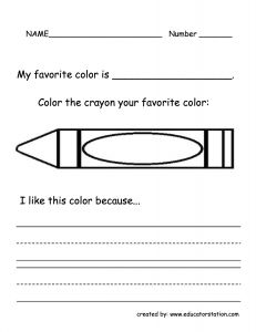 favorite color writing activity crayon box that talked