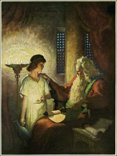 "NC Wyeth, 'Samuel Mistakes God's Call' (Samuel 3:2-11) ""And the Lord called Samuel again the third time. And he arose and went to Eli, and said, Here am I; for thou didst call me. And Eli perceived that the Lord had called the child..."" 9 Therefore Eli said unto Samuel, Go, lie down: and it shall be, if he call thee, that thou shalt say, Speak, Lord; for thy servant heareth"