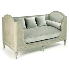 Palais French Country Grey Sage Green Painted Cane Day Bed. #kathykuohome #sofa #FrenchCountry