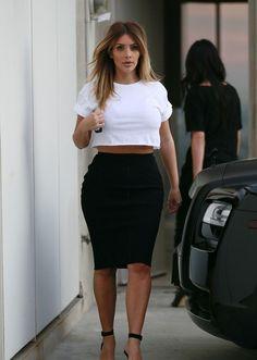 Kim Kardashian - White Cropped Top, Black Fitted Skirt & Black Ankle-Strap Sandals