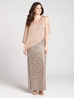Graceful and glamourous, this evening gown lets you glitter the evening away. Featuring a lacy, sequined body with a sheer blush overlay, this effervescent look is a stunning option for any special occasion.3010103-0529