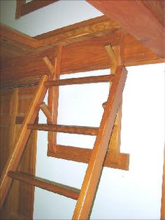 Great idea to lock a loft ladder in place at different angles. Cottage Stairs, Tiny House Stairs, Loft Stairs, Staircase Railings, Tiny House Cabin, Door Gate Design, Railing Design, My Home Design, House Design