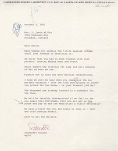 Letter from Girard to Mrs. Irwin Miller, 1961.  On this day in 1961, Alexander Girard wrote to Xenia Miller to thank her for sending a Spanish creche for his Nativities exhibition at Atkins Museum (now the Nelson-Atkins Museum).