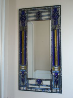Mirror with stained glass frame - inspired by Frank Lloyd Wright designs #StainedGlassMirror