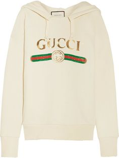 083c4a8e083a Gucci - Embroidered Cotton-jersey Hooded Top - Off-white Gucci Champion  Hoodie