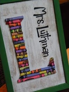 crayon monogram - great teacher gift!