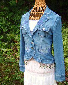 Beaded embroidered fairy denim jacket OOAK by bohemianblue on Etsy, $75.00