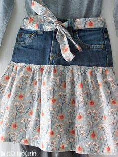 One and one make four - Judith Rial . One and one make four – Judith Rial … Happy Birthday! One and one make four – Judith Rial …, Diy Clothing, Sewing Clothes, Jean Diy, Denim Crafts, Upcycled Crafts, Denim Ideas, Recycle Jeans, Skirt Patterns Sewing, Old Jeans