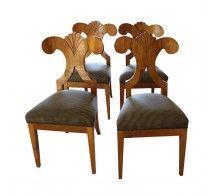 Antique Biedermeier Armless Side Chairs Set