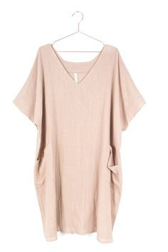Boho minimalist V neck woven dress with an oversized/loose fit. Front patched pockets.Textured linen-like non-stretch material. Available in Cream, Olive, or R