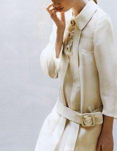 "bienenkiste: ""Prada feature photographed by Katsuhide Morimoto for SPUR Magazine August 2011 "" Fashion Details, Look Fashion, Spring Fashion, Womens Fashion, Fashion Trends, White Fashion, Runway Fashion, White Winter Coat, White Coats"