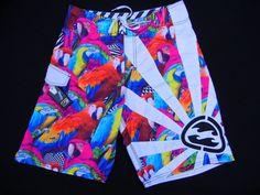 Vintage BILLABONG Andy Irons RARE Parrots Rising Sun Sz 32 Wax Comb Fin Key  #Billabong #Boardshorts