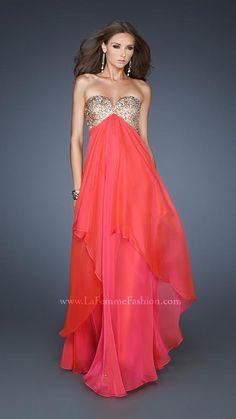 { 18774 | La Femme Fashion 2013 } La Femme Prom Dresses - Sequin Bodice - Front Layers - Sweetheart V