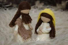 Nativity Mary and baby Jesus & Joseph Designer: Veronica McRae Link to designer's online shop included in the story