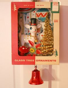 Vintage Christmas Ornament Box Collage