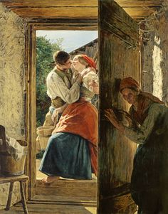 """Ferdinand Georg Waldmüller, """"Belauschte Liebesleute (der Kuss)"""", 1858"""