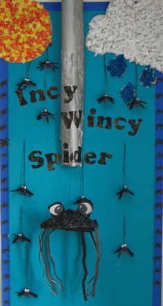 A super Incy Wincy Spider classroom display photo contribution. Great ideas for your classroom! Nursery Rhyme Crafts, Nursery Rhyme Theme, Nursery Activities, Rhyming Activities, Nursery Rhymes Preschool, Class Displays, School Displays, Classroom Displays, Photo Displays