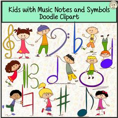 Kids are holding basic Music symbols: Bass clef, Treble clef, Alto clef, Flat, Sharp, Natural, Whole note, Half note, Quarter note, Eighth note, Sixteenth note, Whole rest, Half rest, Quarter rest, Eighth rest, Sixteenth rest. High quality graphics. 300 dpi.