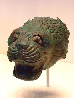 Finial in the Shape of a Lion's Head Etruscan 525-500 BCE Bronze and glass paste #TuscanyAgriturismoGiratola