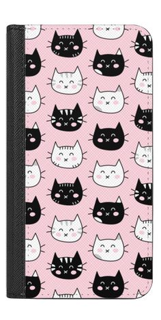 Casetify iPhone 7 Wallet Case - Happy Cats - Black and White Cat Pattern - Pink by Happy Cat Prints #Casetify