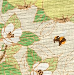 Emily Burningham Quince With Bees linen union in Natural