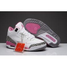 pink grey white leopard air jordan retro 3 shoes for girls cheap sale