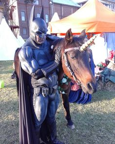 #batman with a #unicorn. #cosplay #winterfest