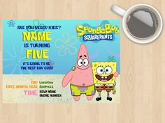Digital Download Spongebob Squarepants and Patrick Star Kids, Children's Birthday Invitation, Sea, TV Show, Yellow, Blue, Customisable by DesignsByMoniqueAU on Etsy