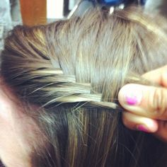 Fishtail waterfall braid - simple! pull a piece over from the front then a piece down from the top, and repeat.