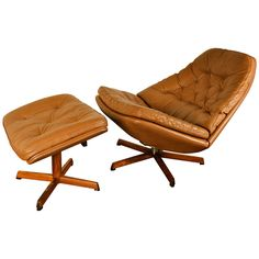 Leather Lounge Chair and Ottoman by H.W. Klein | From a unique collection of antique and modern lounge chairs at https://www.1stdibs.com/furniture/seating/lounge-chairs/